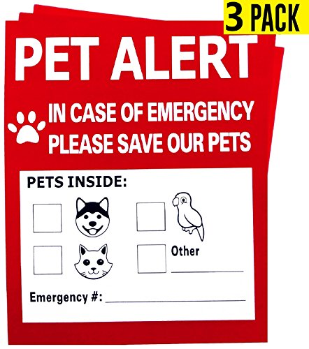 Sundesign Pet Alert Safety Fire Rescue Sticker,In Case of Fire Notify Rescue Personnel to Save Pets (3 Pack)