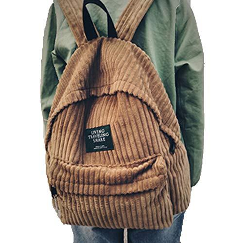 k bags corduroy backpack teenage backpacks for girls feminine bagpack,brown ()