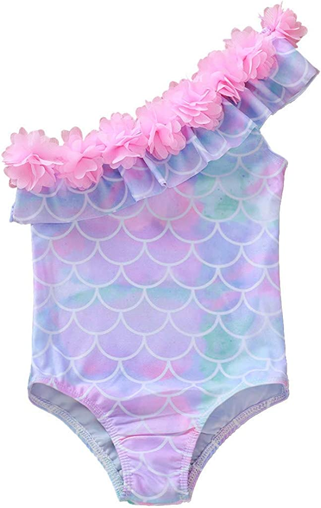 Baby Swimsuit 1-5 Years Toddler Infant Swimwear Little Kid Girl Mermaid Off-Shoulder One Piece Romper Bathing Suit