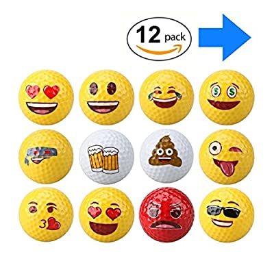 Emoji Golf Balls - Standard 2 layer/piece real practice for golfers of all skill levels - Professional Practice Golfballs, Golf Gag Gifts Kids Novelty Gifts Toys for Outdoor or Field Playing - M&H