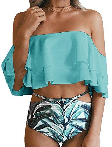 Imily Bela Women's Bikini Ruffle Off Shoulder Top & Floral Shorts Swimsuit Bathing Suit 2pc Sets (Medium, Z-Baby Blue)