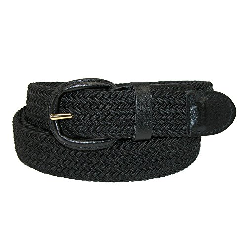 CTM Men's Elastic Braided Belt with Covered Buckle (Big & Tall Available), XXXL, Black