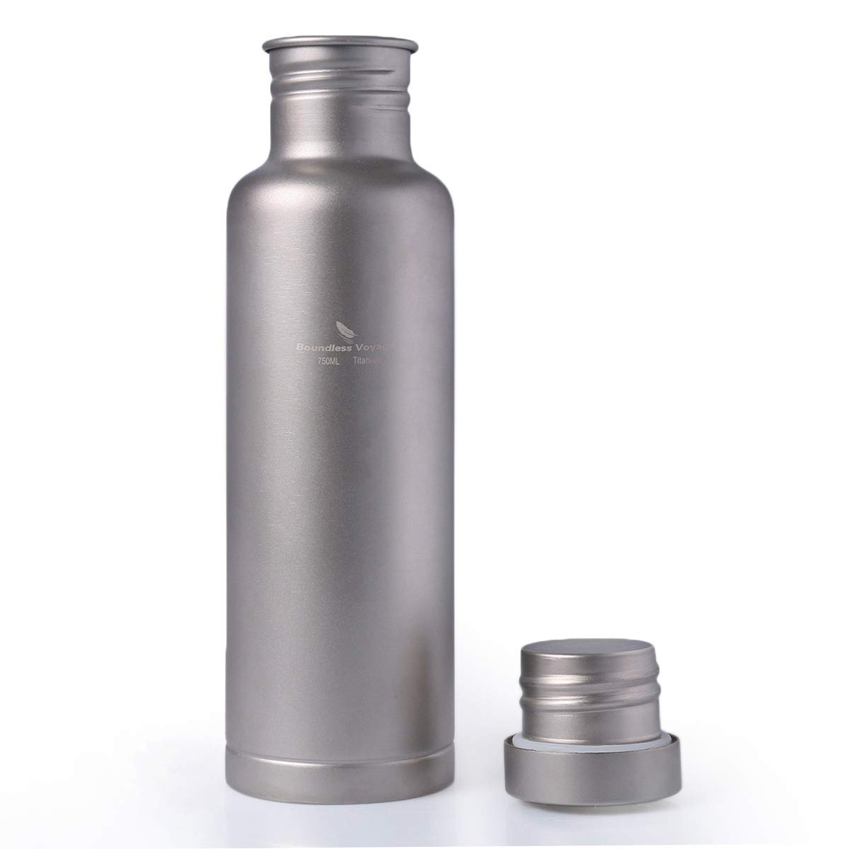 iBasingo Titanium Sports Bottle with Lid Outdoor Leak-Proof Water Bottle Canteen Drinking Flask Pot Only 160g for Camping Hiking Climbing Traveling Cycling Running