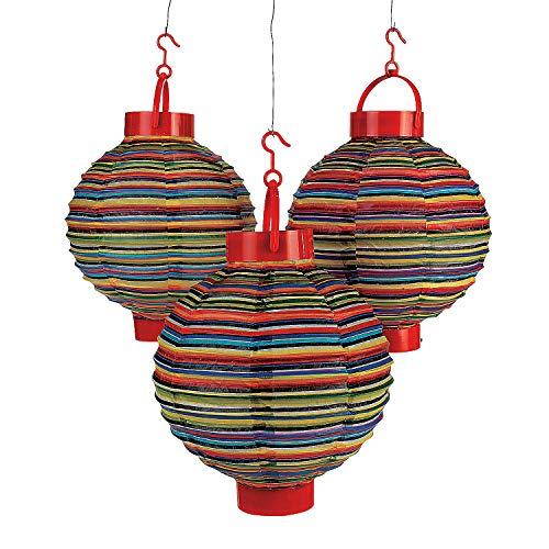 Fun Express - Light Up Fiesta Lantern (3pc) for Cinco de Mayo - Party Decor - Hanging Decor - Lanterns - Cinco de Mayo - 3 Pieces