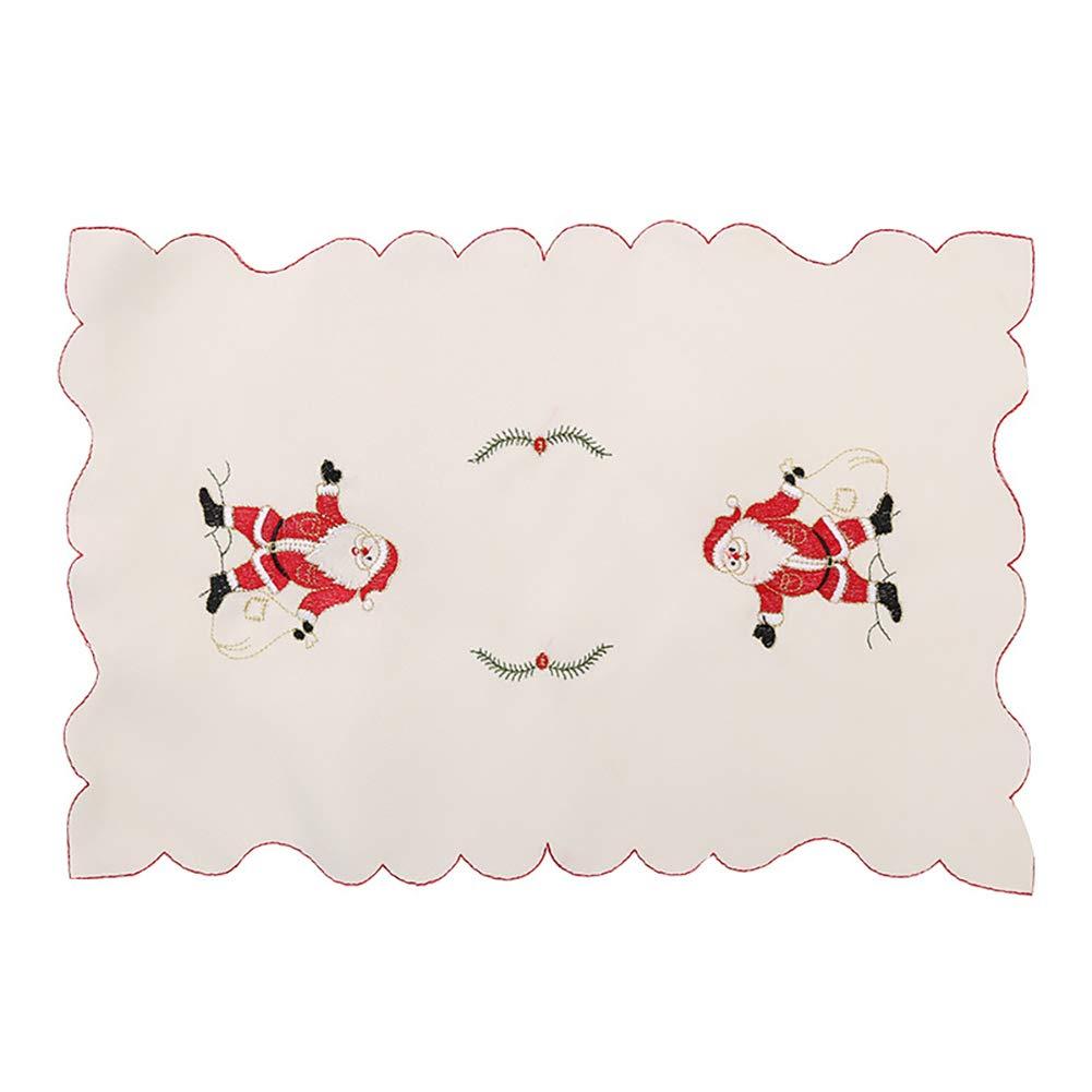 Xiton 1 Stück/Set Stickerei Skeleton Skelett Weihnachts Mahlzeit Matte Mahlzeit Matte Mahlzeit Matte FamilienFeier Weihnachtsessen Matte Tischdekoration-WeihnachtsMann