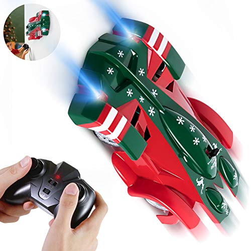 SGILE Remote Control Car, Wall Climbing RC Car Toy- Dual Mode 360° Rotating LED Head Stunt Car, Birthday Present Gift for Kids, Green