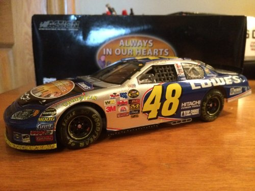 2004 Jimmie Johnson #48 Always In Our Hearts Hendrick Motorsports Plane Crash Tribute Atlanta Raced Win Version Lowes Monte Carlo 1/24 Scale Diecast Hood Opens, Trunk Opens HOTO & More Action Racing Collectables ARC Limited Production (Action Racing Collectables Hood)