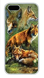 IPhone 5/5S Case Red Fox Collage PC Hard Plastic Case for iPhone 5/5S Whtie