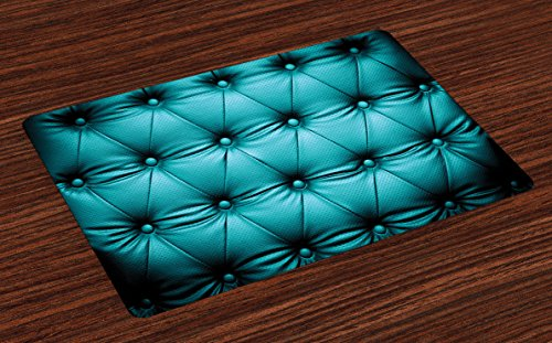 Lunarable Turquoise Place Mats Set of 4, Buttoned Couch Sofa Bed Headboard Leather Cover Furniture Upholstery Artwork Print, Washable Fabric Placemats for Dining Room Kitchen Table Decoration, Teal ()
