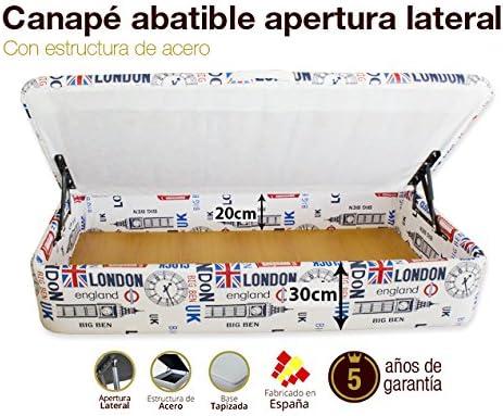 Canap/é Abatible Apertura Lateral Tapizado Ecopel Blanco Gran Capacidad 80x180cm Envio y montaje gratis
