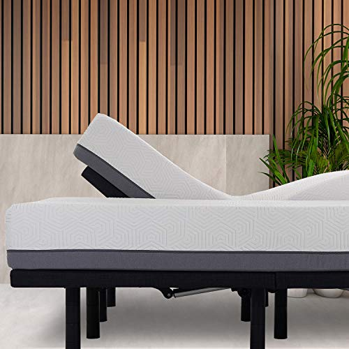 zzZenSleep Premium Head Tilt Adjustable Bed Frame and 10 Inch Bamboo Charcoal Infused Memory Foam Mattress Medium Firm Feel (Split King)