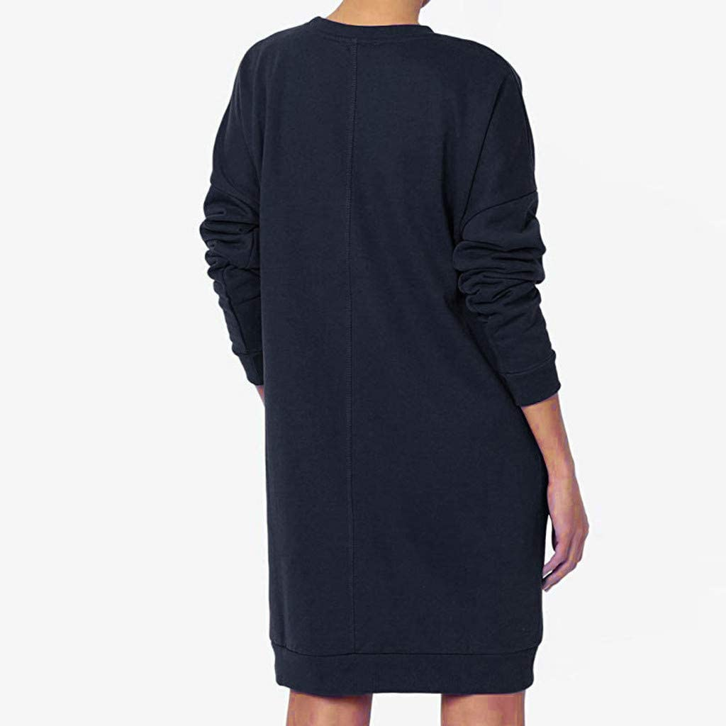 Pumsun Top Womens Pullover Shirt Dress Long Sleeve Sweatshirt Solid Color Loose Tunic Tops T-Shirt with Pockets