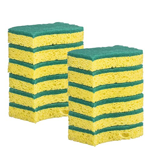 (Elite Selection S-Shape Scrub Sponges - Non-Scratch Kitchen Sponges - Heavy Duty Cellulose Scrubbing Sponges for Kitchens, Bathrooms, Housework, and More - [Yellow] - 12 Pack )