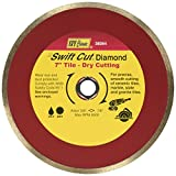 IVY Classic 38064 Swift Cut 7-Inch Dry and Wet Tile Cutting Continuous Rim Diamond Blade with 7/8-5/8-Inch Diamond Arbor, 1/Card