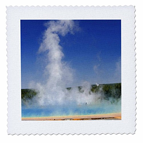 3dRose qs_97209_1 Visitors, Grand Prismatic Spring, Yellowstone NP, WY-US51 AJE0014-Adam Jones-Quilt Square, 10 by 10-Inch