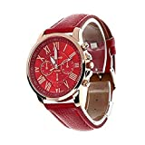 Triskye Womens Analog Quartz Watches Business Casual Classic Luxury Geneva Roman Numerals Faux Leather Strap Band Round Wrist Watch Ladies Wristwatch Bracelet for Girls