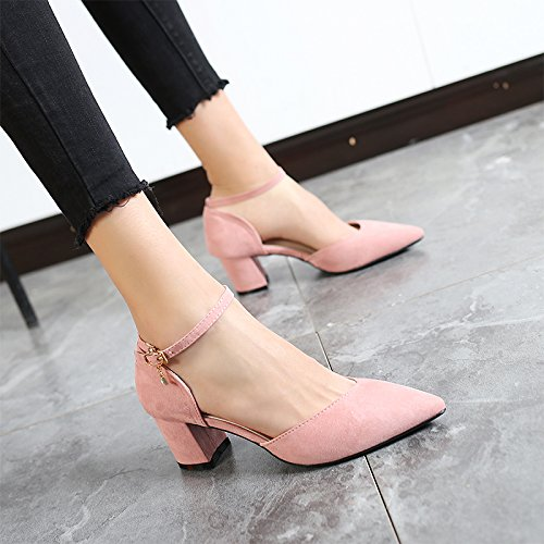 High Buckle Heels 2018 Pink Sandals Single Shoes With Jqdyl heels Shoes Word New Women'S High Summer And With Spring Thick Female 8q0AR