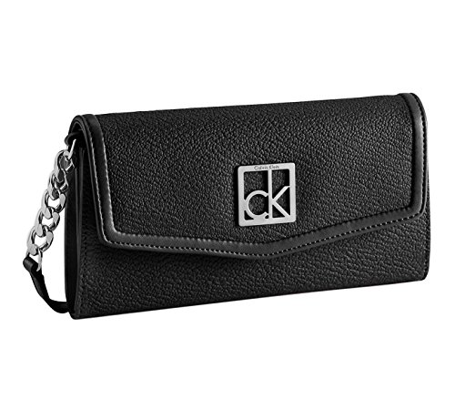 Calvin Klein Women's Valerie Convertible Flap Wallet With Strap (Leather Black Chain Bag Shoulder Link)