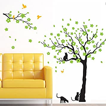 Amazon.com: Black Tree Birds and Cats Wall Decals Removable Tree ...