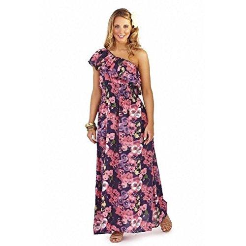 Maxi vestido de playa de triángulo asimétrica para mujer vestido de verano con diseños Buenos días de verano Rosa