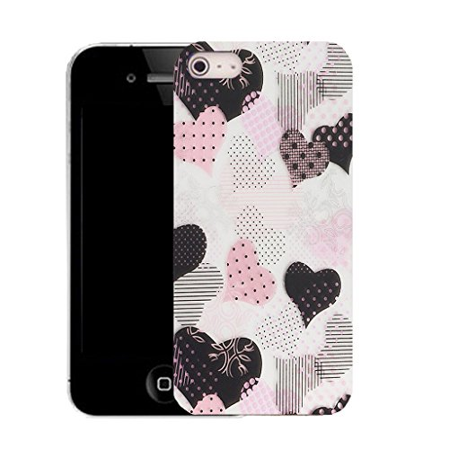 Mobile Case Mate IPhone 5S clip on Silicone Coque couverture case cover Pare-chocs + STYLET - dainty heart pattern (SILICON)