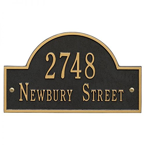 Address Plaque Number Display - Personalized Cast Metal Address plaque displays your address and street name # 63159F1 Large Arch Custom House Number Sign