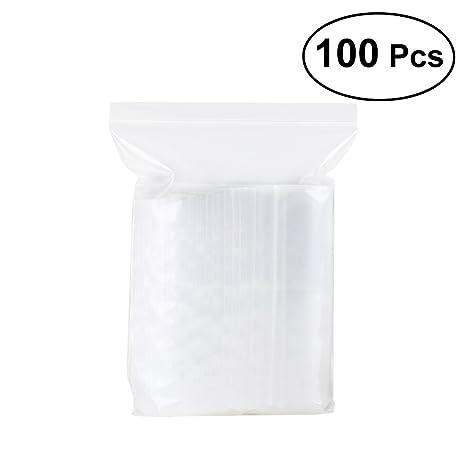 OUNONA Bolsas de cierre de cremallera Bolsas de plástico para alimentos Bolsas con cierre a presión bolsas Zip - 100 Piezas