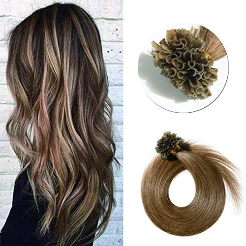 Pre Bonded U Tip Hair Extensions Human Hair 100 Strands Keratin Fushion Nail Tip Human Hair Extensions 100% Real Remy Hair Silky Straight #06 Light Brown 16 inches 50g