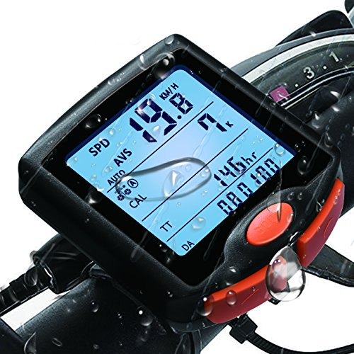 Bike Computer, Waterproof Multifunction Cycling Speedometer with Backlit - Second Speedometer