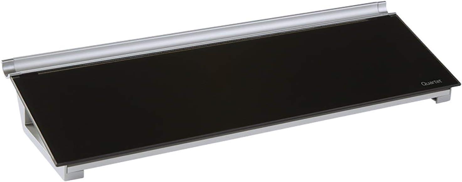 "Quartet Glass Desktop Computer Pad, 18"" x 6"", Whiteboard, Dry Erase Surface, Black Surface (GDP186B)"