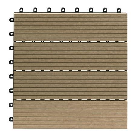 Gartenfreude EVERFLOOR WPC marca (madera/mezcla de plástico) baldosas de patio perfil macizo gris oscuro, 6 piezas, 40 x 40 cm (aprox. 0,96m2) 4600-1001-004