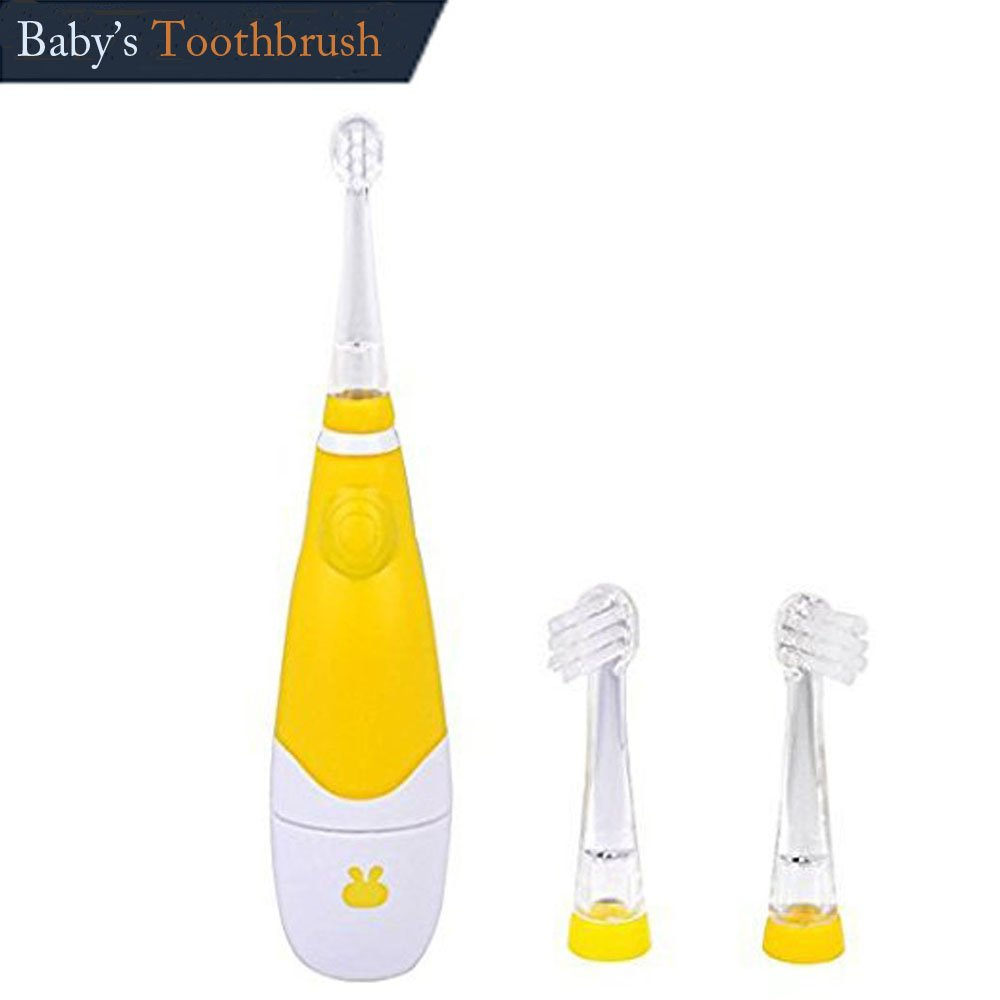 Baby Sonic Electric Toothbrush Battery with 3 Tooth Brush Heads 1-8 Years Old,yellow