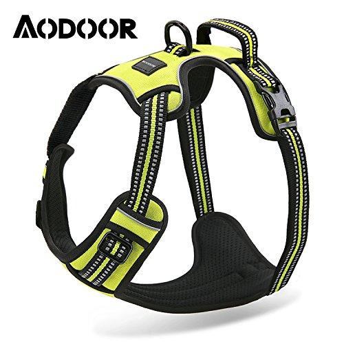 Aodoor Ultra-Soft Hundegeschirr Softgeschirr Brustgeschirr Hunde Geschirr Sicherheitsgeschirr M Grün