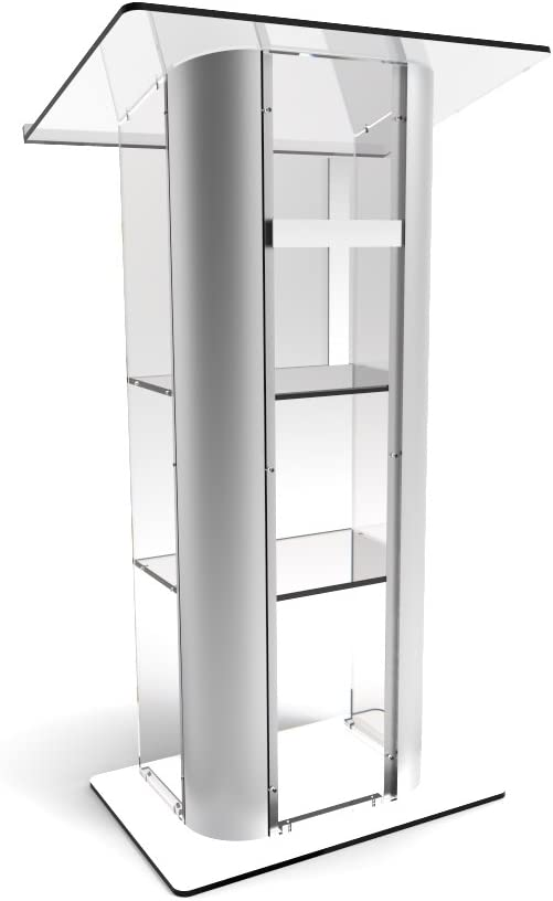 FixtureDisplays Clear Acrylic Plexiglass Lucite Podium Curved Brushed Stainless Steel Sides Pulpit Lectern with Cross 14307 1803-CROSS