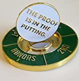 Starter Coin with golf ball marker engraved with putter phrase: THE PROOF IS IN THE PUTTING.