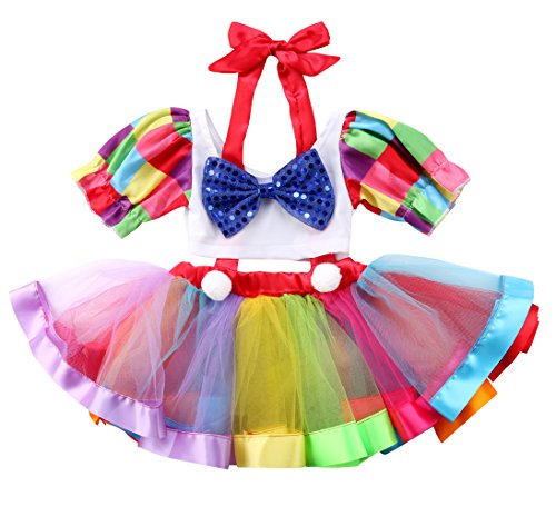 Halter Petticoat - Baby Girl Newborn Toddler Infant Red Bow Tie Halterneck Tops+Dress Petticoat Rainbow Pretty Skirt Bowknot Tutu Dress Dancewear Girls Birthday Costume (1405-6Years)