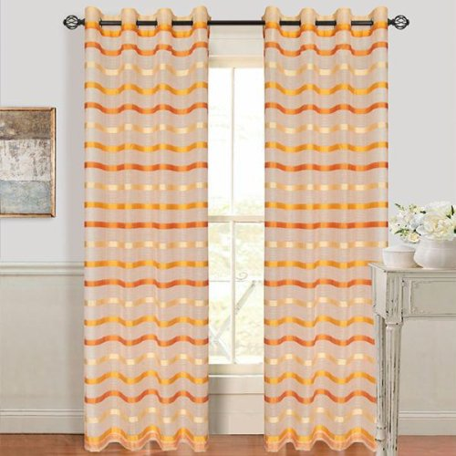 UPC 886511341180, Set of 2 Lavish Home Arla Grommet Curtain Panel - Dark-Lite Orange