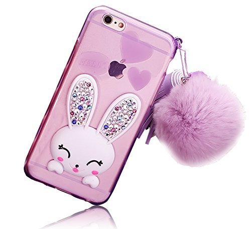 iPhone 4 4S Case Cute, Sunroyal Soft Transparent TPU 3D Adorable Cartoon Rabbit (Bunny) Stand Bling Diamond Silicone Ear Scratch Resistant Ultra thin Case with Hairball Pompon Wrist Strap - Purple