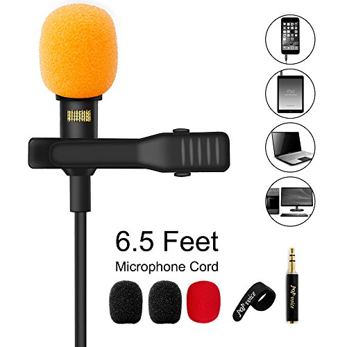 PoP voice Upgraded Lavalier Lapel Microphone, Omnidirectional Condenser Mic for Apple iPhone iPad Mac Android Smartphones, YouTube, Interview, Studio, Video, Recording,Noise Cancelling Mic ()