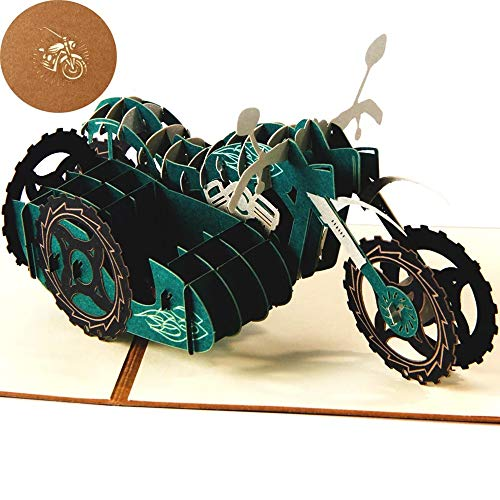 Pop Up 3D Greeting Cards with Envelope, for Thanking you,Anniversary Birthday Card for for Husband, Wife, Boyfriend,Girlfriend motorcycle
