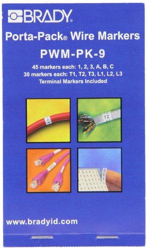 Brady PWM-PK-9 B-500 Repositionable Vinyl Cloth, Black on White Porta-Pack Wire Marker, Legend