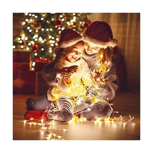 BACKTURE Catena Luminosa Natale, 25M 200 LED Stringa Luci con Adattatore di Alimentazione, 8 Modalità e Luminosità Impermeabile IP44, Decorative per Interno o Esterno Casa Festa Matrimonio 6 spesavip