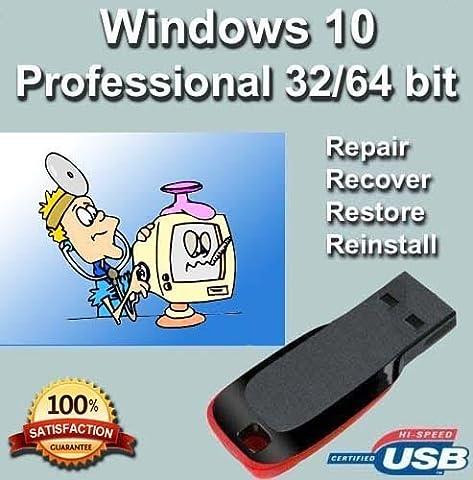 Windows 10 Professional 32/64 Bit Repair, Reinstall   Boot   Recovery   Restore USB Flash Drive