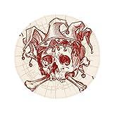 Joker Red Crown Skeleton Poker Card Pattern Anti-slip Floor Pet Mat Round Bathroom Living Room Kitchen Door 80cm Gift