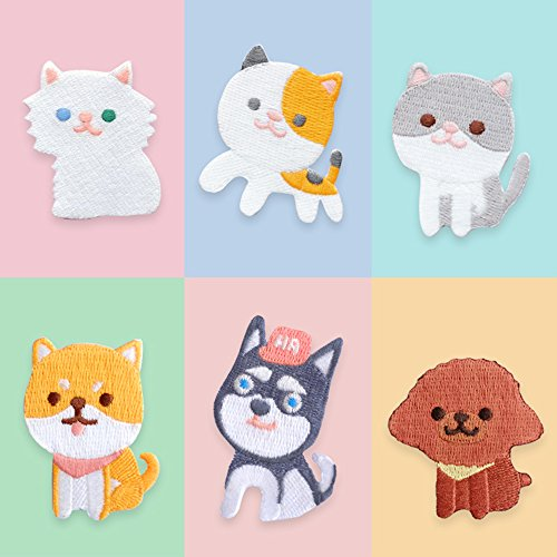 - Assorted Pet Iron on Patches DIY Sew on Embroidered Applique Puppy Dog and Kitty Cat, 6Pcs