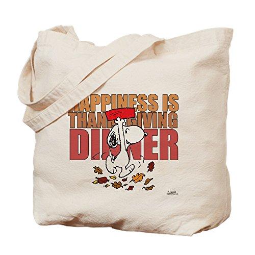 Peanuts Thanksgiving Dinner (CafePress Peanuts Happiness Thanksgiving Dinner Natural Canvas Tote Bag, Reusable Shopping)