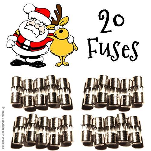 20 Christmas Mini Light Strings Replacement Glass Fuses 3A 3 Amp 110V 125V 20pcs