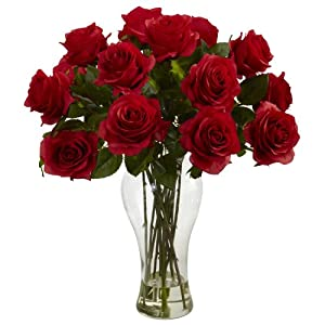 Nearly Natural 1328-RD Blooming Roses with Vase, Red 54
