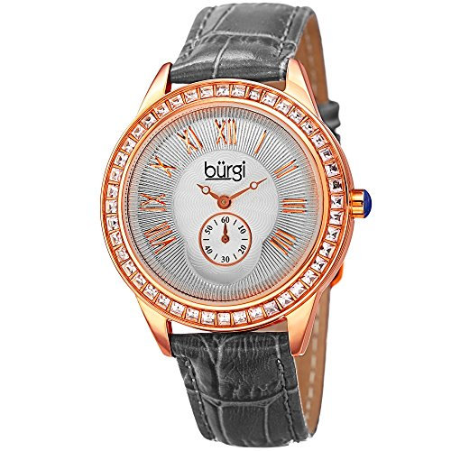 Burgi Women's BUR144GY Rose Gold Quartz Watch With Silver Dial and Swarovski Crystal Accented Bezel And Gray Leather Strap - Swarovski Crystal Heart Watch