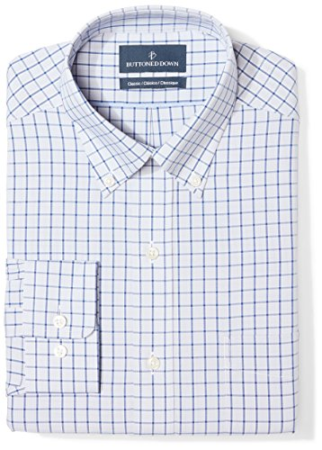 BUTTONED DOWN Men's Classic Fit Button Collar Pattern Non-Iron Dress Shirt, Grey/Blue Windowpane Check, 15.5
